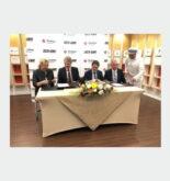 Sigrid Kaag, Dutch Minister of Foreign Affairs, Mark Geilenkirchen, CEO Port of Sohar, Chris Raijmakers, Director Middle East Strukton International and Yvo de Zwart, Operational Manager, Rock International Oman at the MOU signing