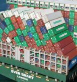 Collapsed containers on container ship Ever Smart