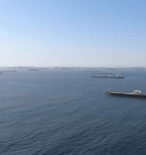 Large Number Of Tanker Vessels Wait At Anchor Off The Coast Of Southern California