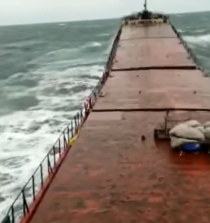 Video: Coastal Freighter Breaks Up at Anchor