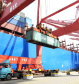 container loading onto ship