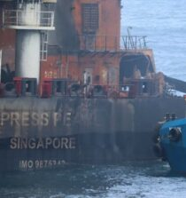 containership fire out as Sri Lanka orders it towed to sea