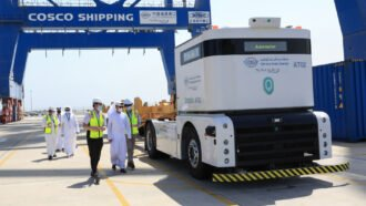 The CSP Abu Dhabi container terminal has become the first facility in the Middle East to implement an autonomous port truck system at Khalifa Port