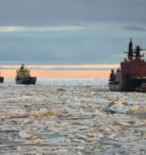 A Russian nuclear-powered icebreaker escorts ships on the Northern Sea Route, July 14 2016